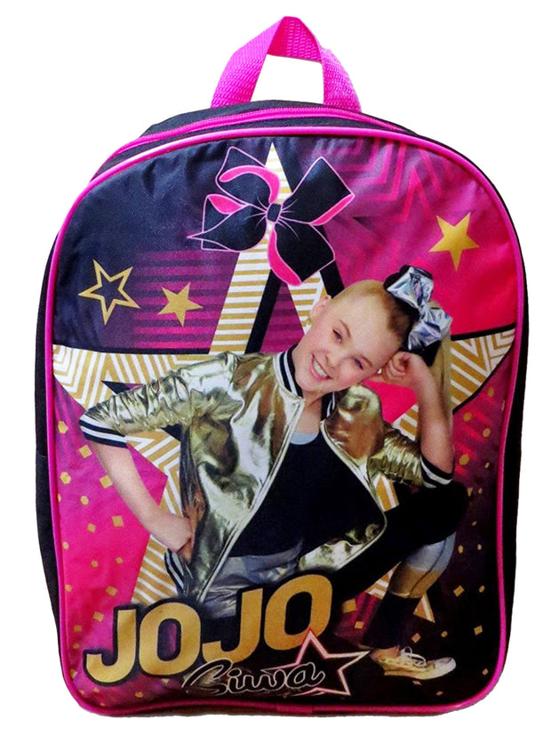 "JoJo Siwa 15"" Backpack Star Bow w/ JoJo 3D Raised Sticker Sheet (22-CT)"