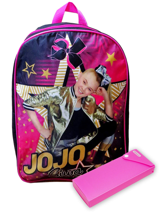 "Girls JoJo Siwa Backpack 15"" Star with Pencil Case 2Pcs"
