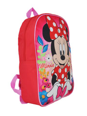 "Disney Minnie Mouse 15"" Backpack Polka Dot Dress Bow w/ Zipper Pencil Case Set"