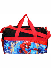 "Boys Spider-Man Duffel Bag 18"" Black Red & Zippered Travel Accessories Pouch"