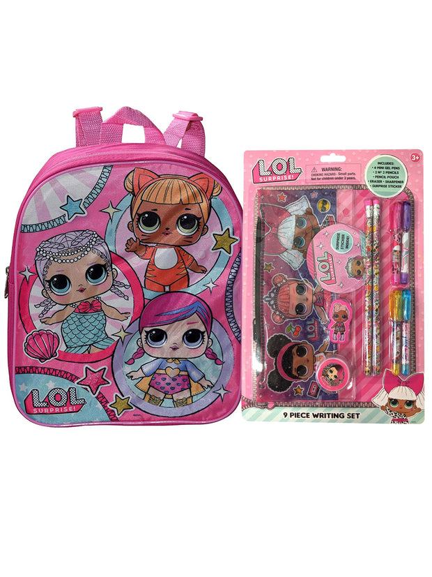 "LOL Surprise 12"" Small Backpack & 9-Piece Writing Stationery Set Bundle"