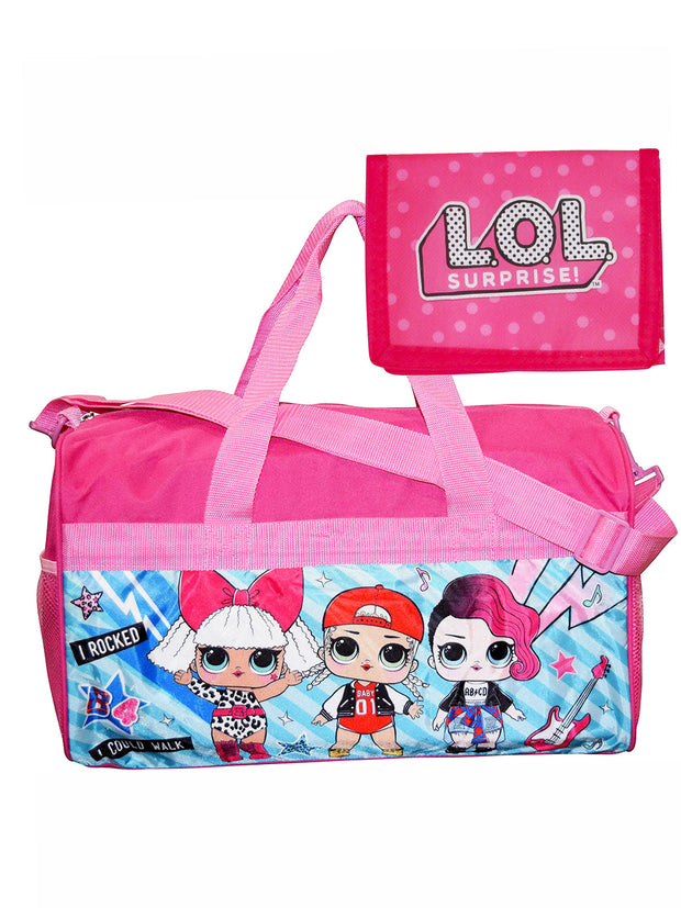 "Girls LOL Surprise! Carry-on Duffel Bag 18"" Pink & Bifold Wallet 2-Piece Set"