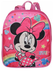 "Girls Minnie Mouse Small 12"" Backpack Pink Rainbow"