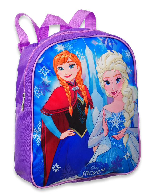 "Disney Frozen Anna Elsa 12"" Backpack & Double Compartment Lunch Bag 2-Piece Set"