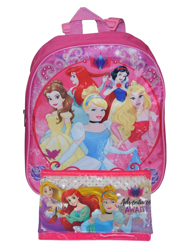 "Disney Princesses Small 12"" Backpack & Large Pencil Pouch 3-Ring 2-Piece Set"
