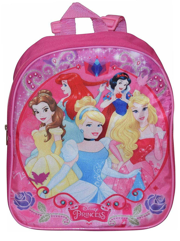 "Disney Princesses 12"" Backpack & Reusable Drink Pouch 14oz BPA Free 2-Piece Set"