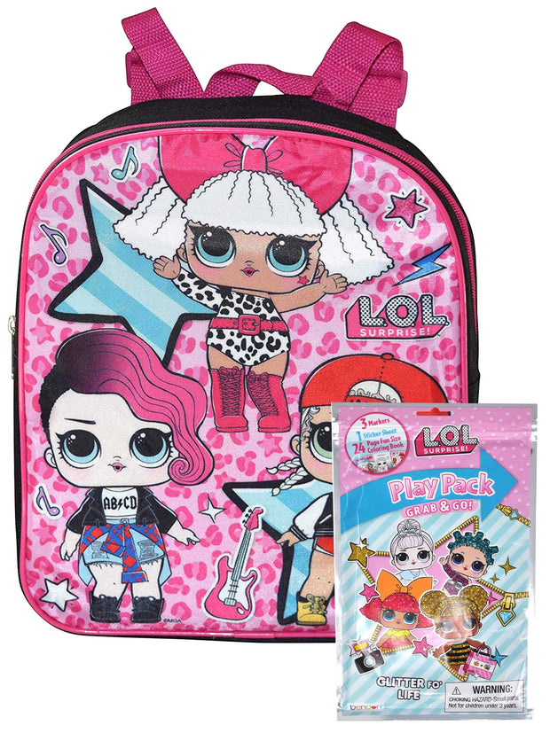 "Lol Suprise 12"" Small Backpack Rocker w/ Grab-n-Go Play Pack Stickers Markers"