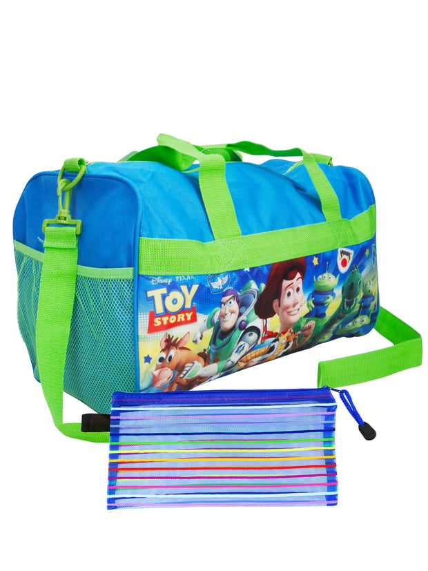 "Toy Story Duffel Bag 18"" Woody Rex Green & Zippered Travel Accessories Pouch"