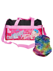 "JoJo Siwa 18"" Duffel Bag Carry-On Girl Power w/ Tie-Dye Face Mask Neck Gaiter"