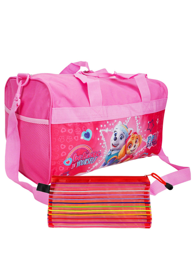 "Girls Paw Patrol Duffel Bag 18"" Believe in Yourself & Zippered Travel Pouch"
