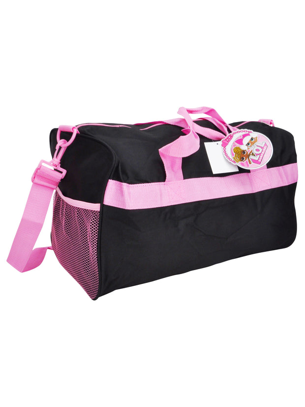 "Girls LOL Surprise Duffel Bag 18"" Black Pink & Zippered Travel Accessories Pouch"