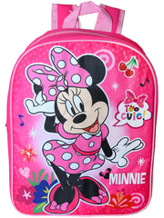 "Disney Girls Minnie Mouse 15"" Backpack Too Cute Dancing Polka Dot Dress Pink"