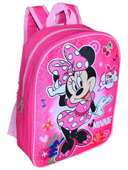 "Disney Minnie Mouse Backpack 15"" Pink Polka Dot & Sliding Pencil Case Set"