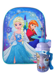 "Girls Frozen Backpack 15"" w/ Anna Olaf 12 oz Water Bottle Popup Lid"