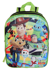 "Kids Toy Story 4 Backpack 15"" Woody Buzz Ducky Bunny Forky"