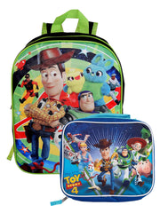 "Disney Toy Story 4 Backpack 15"" Woody Buzz w/ Insulated Lunch Bag Forky"