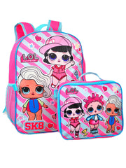 "Girls LOL Surprise Backpack 16"" Sk8 w/ Detachable Lunch Bag & Sliding 3 Pc Set"