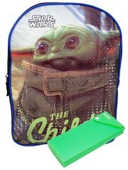"Disney Star Wars 15"" Backpack ""The Child"" Yoda w/ Sliding Pencil Case Set"