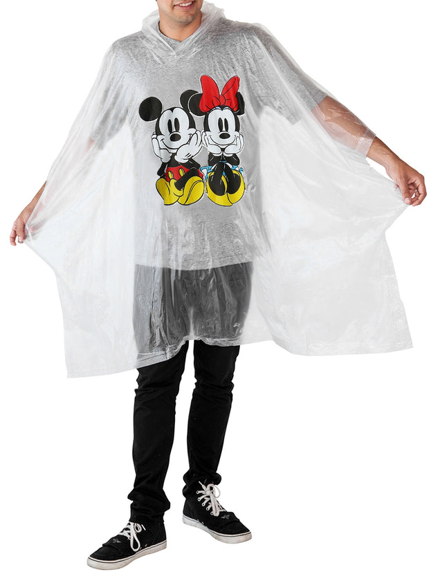 Disney Mickey & Minnie Mouse Men's Adult Rain Poncho Water Resistant