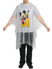 Disney Mickey Mouse & Pluto Men's Adult Rain Poncho Water Resistant