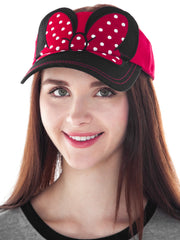 Womens Minnie Mouse Visor Hat w/ Bow Red Adults