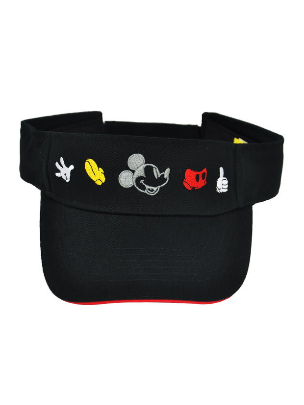"Disney Mickey Mouse 18"" Drawstring Sling Bag Through The Years w/ Visor Hat Cap"