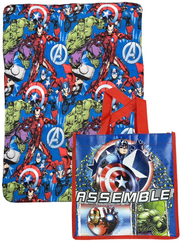 "Marvel Avengers 45"" x 60"" Throw Blanket w/ 10"" Reusable Tote Bag Iron Man Hulk"