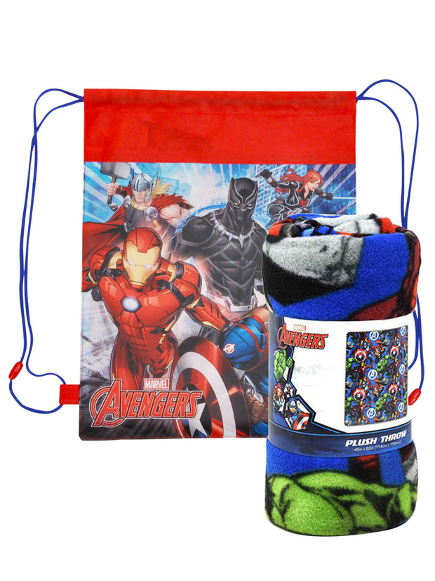 "Marvel Avengers Throw Blanket 45"" x 60"" w/ Captain America Drawstring Sling Bag"