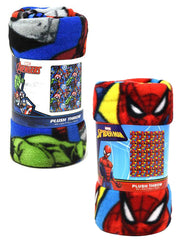"Marvel Avengers And Spider-Man Blankets 45"" x 60"" Thor Hulk Iron Man 2-Pack Set"