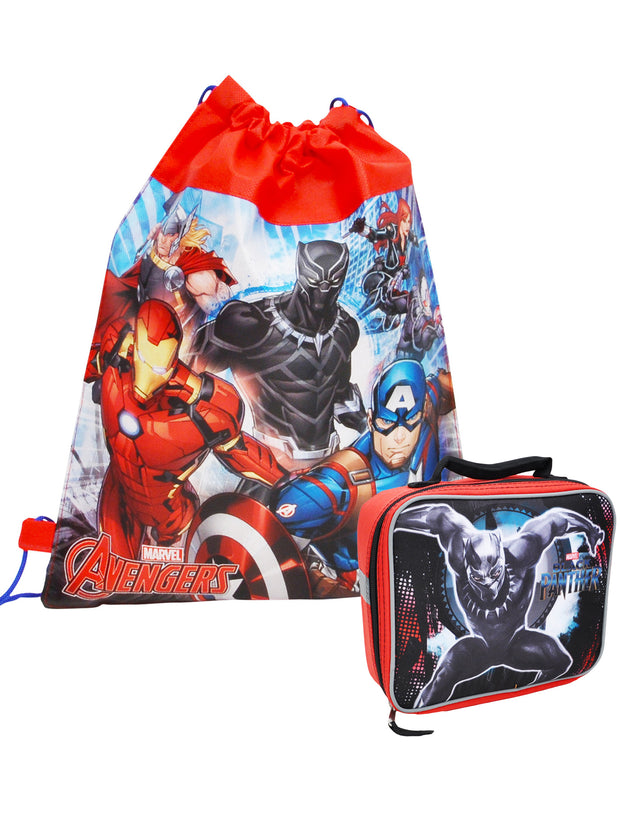 Boys Marvel's Avengers Sling Bag & Black Panther Lunch Bag 2-Pcs