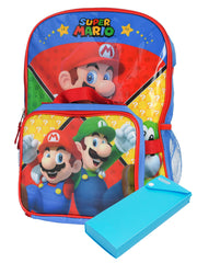 "Super Mario Bros. 16 "" Backpack w/ Pencil Case & Insulated Lunch Bag 3 Pc Set"