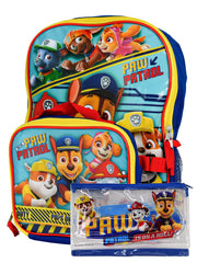 "Paw Patrol 16"" Backpack & Detachable Insulated Lunch Bag w/ Zipper Pencil Pouch"