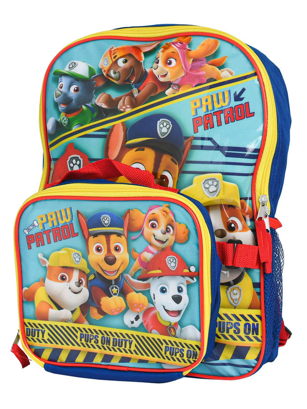 "Paw Patrol Backpack 16"" and Detachable Insulated Lunch Bag 2Pc Set Pups On Duty"