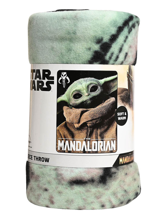 "Star Wars Baby Yoda The Mandalorian Throw Blanket 45""x60"" w/ Gray Sling Bag Set"