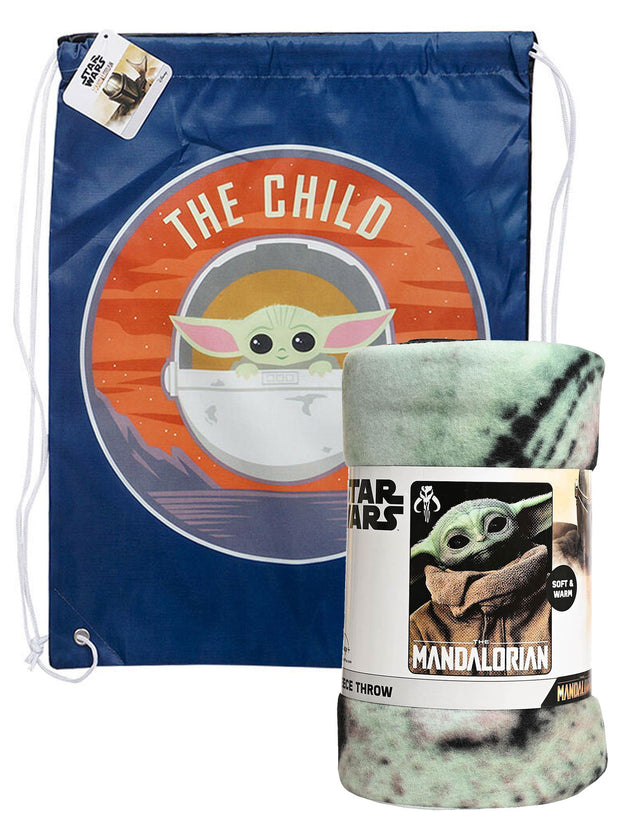 "Star Wars The Mandalorian Throw Blanket 45""x60"" w/ Baby Yoda Drawstring Bag Set"