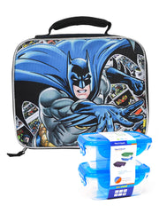 Classic Batman Dc Comics Insulated Lunch Bag w/  2 Pc Snack Container Set