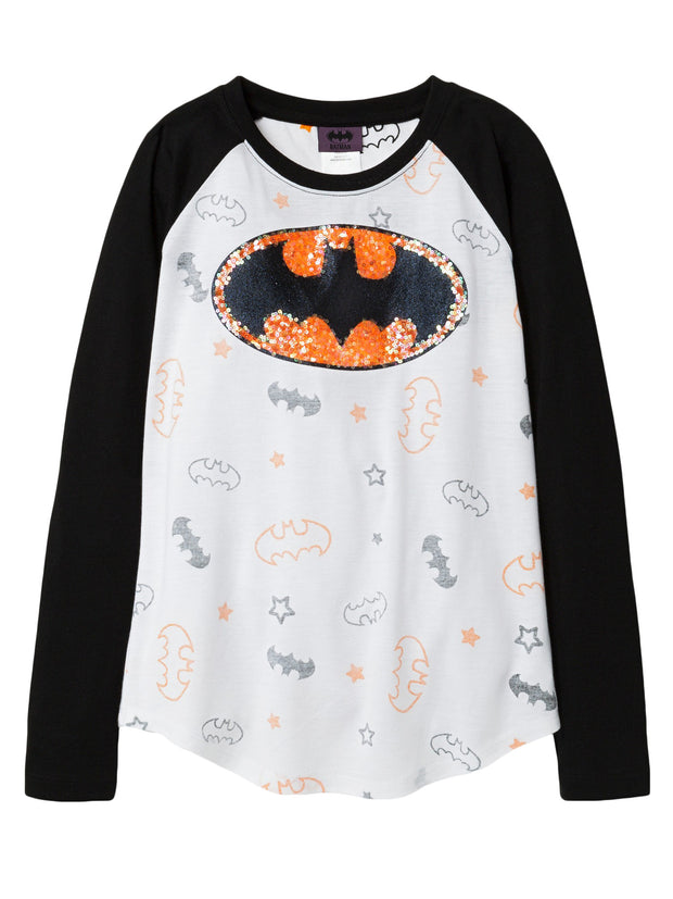 DC Superhero Girls Batgirl Sequin Long Sleeve Shirt