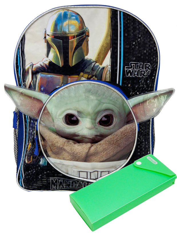 "Disney Star Wars Backpack 16"" Baby Yoda Pocket w/ Sliding Pencil Case Set"