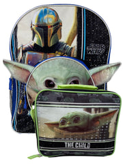 "Star Wars Backpack 16"" Baby Yoda Pocket w/ Mandalorian Insulated Lunch Bag"
