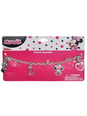 Girls Minnie Mouse Plush Doll 11 Inches & Charm Bracelet Pink 2pcs