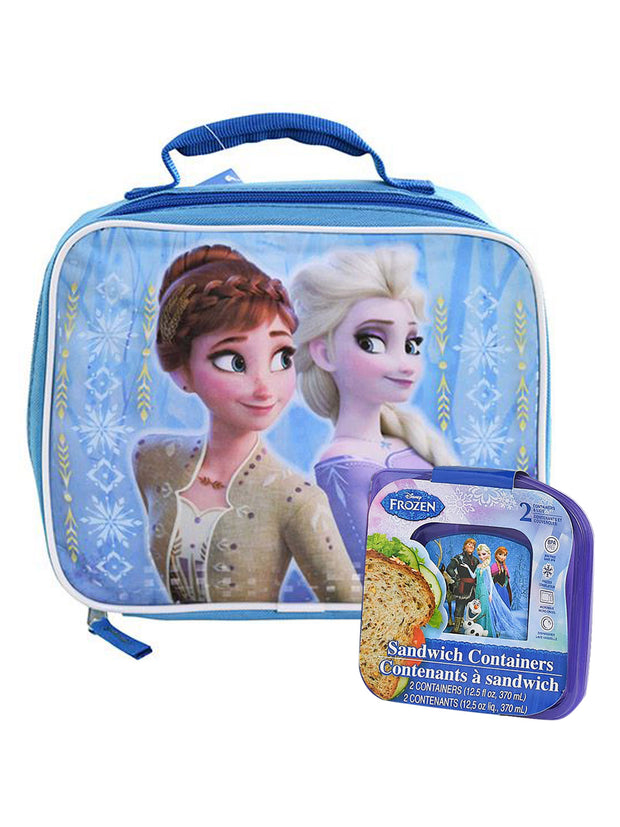 Disney Frozen 2 Elsa Anna Insulated Lunch Bag & 2 Pack Sandwich Containers