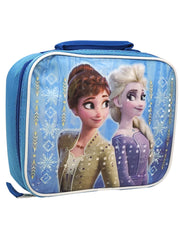 Disney Frozen II Insulated Lunch Bag Elsa Anna Blue Back to Back Snowflakes