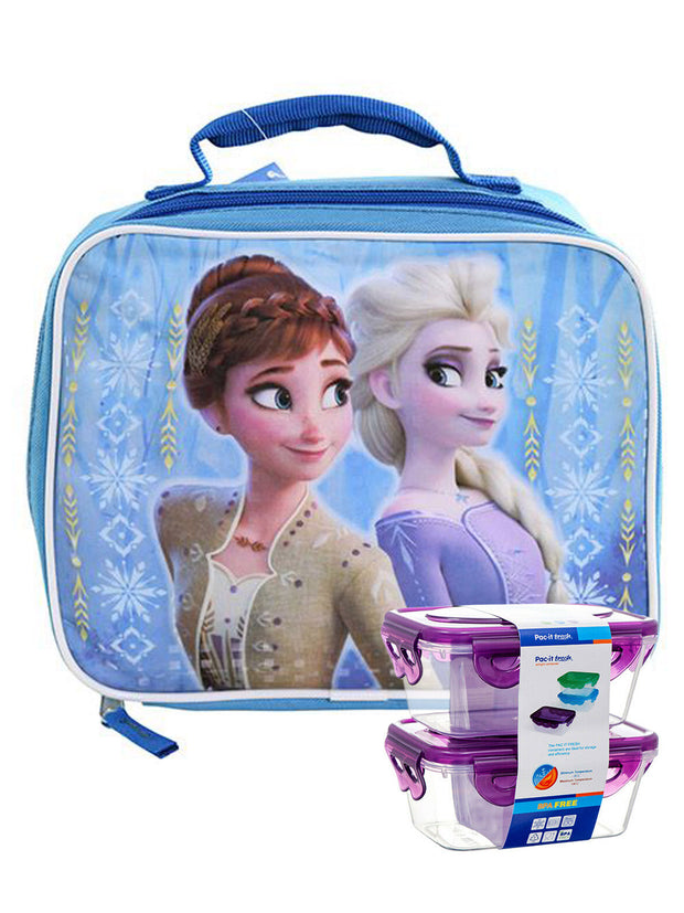 Disney Frozen II Elsa & Anna Insulated Lunch Bag w/ 2 pc Snack Container Set