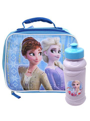 Disney Frozen 2 Insulated Lunch Bag Anna Elsa & 16oz Blue Pull Top Water Bottle