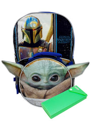 "Star Wars 16"" Backpack & Baby Yoda Detachable Lunch Bag w/ Pencil Case Set"