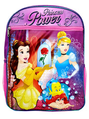 "Disney Princesses 15"" Backpack Cinderella Belle w/ Upper Pocket & Pencil Case"
