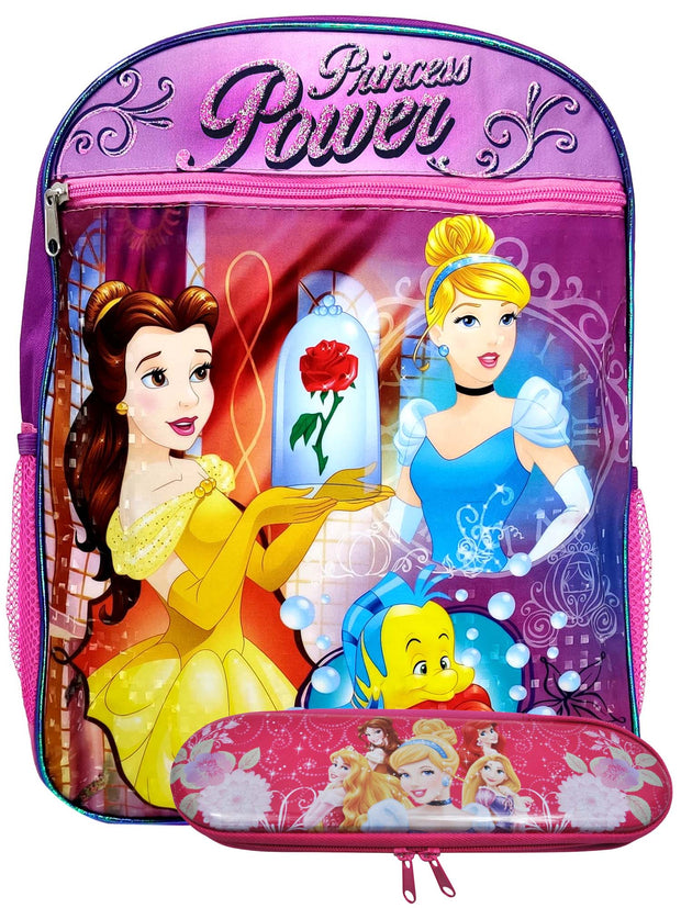 "Disney Princess Power Backpack 15"" Ariel Belle w/ Girls Zipper Pencil Case Set"