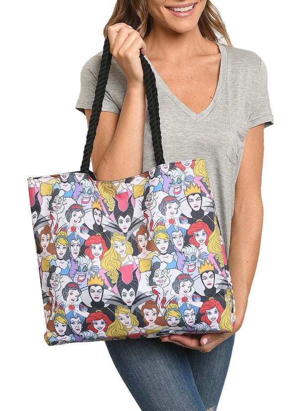 Disney Princesses & Villains Tote Bag Travel Beach Carry-on All-over Print
