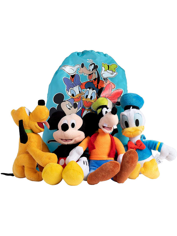 "Disney 11"" Plush Stuffed Mickey Mouse Pluto Donald Goofy Sling Bag 5-Piece Set"
