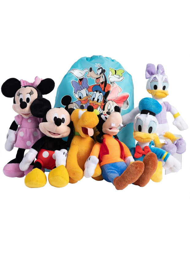 "Disney 6Pk 11"" Mickey Minnie Donald Daisy Pluto Goofy Plush Toy w/ Sling Bag"